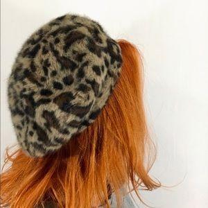 Angora Rabbit Fur Leopard Knit Slouch Beret
